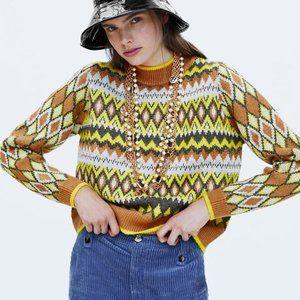 Zara Knit Argyle Sweater Metallic Thread Small